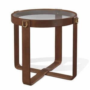Ralph Lauren Modern Equestrian Bridle Leather Side Table